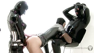 Some horny latex MFF threesome with such a perverted whore Rubber Love