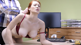 LOAN4K. Redhead Isabella Lui with huge bowels has coitus