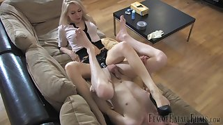 Dominant blonde ass fucks slave boy close to huge strap-on toy