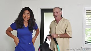 Big-Breasted Ebony Nurse Fucks Wide A Real Old Man