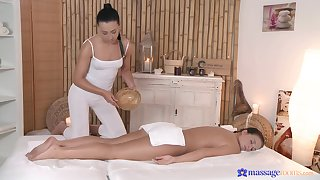 Anna Rose gives a massage nearly Nata Lee and it leads nearly fucking