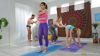 Full hardcore nigh three anal sluts during a yoga lesson