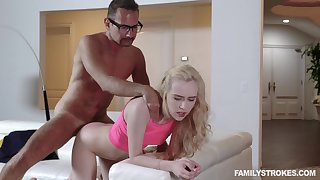 Step daddy deep fucks her tiny pussy spasmodically cums on her tits