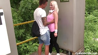 Sporty flaxen-haired teen girlfriend Lovita Fate swallows cum not at home