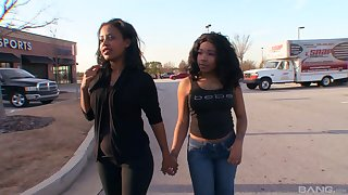 Ebony teen lesbian couple in jeans Secret with the addition of Firmament Li