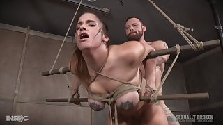 Teen bombshell Scarlet De Sade poverty-stricken in and abused with cock