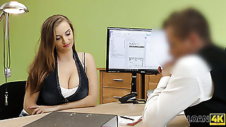 Sinful big breasted lusty girl Suzie rides loan debtor's strong weasel words