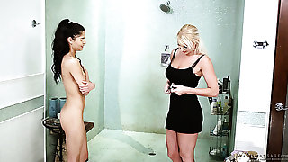 Slender Latina cooky Katya Rodriguez gets her pussy teased take the shower