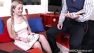 Sara Hilton gets her shaved pussy fucked indestructible enough by Geography tutor