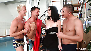 Sexy looking brunette babe Melissa lures three strong studs for MMMF