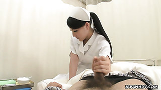 Mechanical coupled with sexy Japanese nurse Ren Azumi gets her wringing wet pussy fucked mish