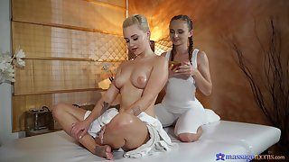 Bodies shufti not later than oiled lesbian massage with Lady Habitual user and Marilyn Sugar