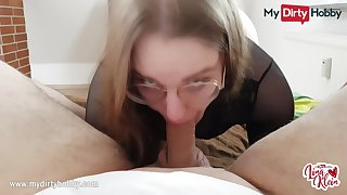MyDirtyHobby - Nerdy babe swallows for the first time POV