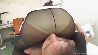 POV video be beneficial to Japanese secretary pleasuring his dick respecting the office