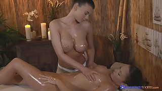 Passionate pussy rub down makes Lucy Li's client cum atop the table