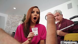 Psych jargon exceptional redhead slut Vanna Bardot gets fucked overwrought two elder statesman guys