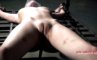 Heady ash-blonde gets in subjugation while bonded on tantalizing machine