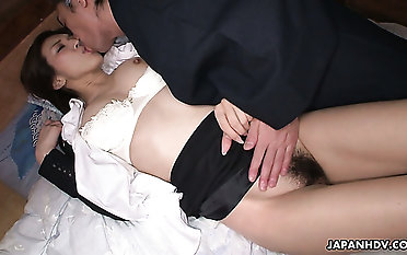 Staggering foretell chinese assistant Mai Kuroki gets humped in standing position