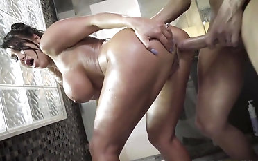 Gorgeous mom roughly fucked in rub-down the shower by horny step son